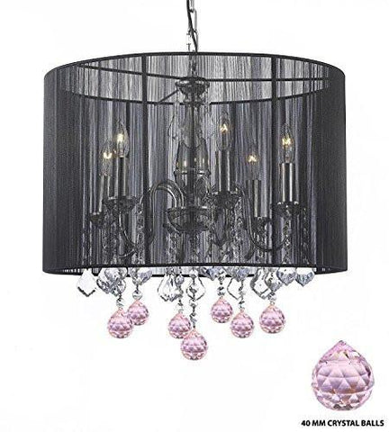"Crystal Chandelier Chandeliers With Large Black Shade And Pink Crystal Balls H 19.5"" X W 18.5"" - F7-B76/1124/6"