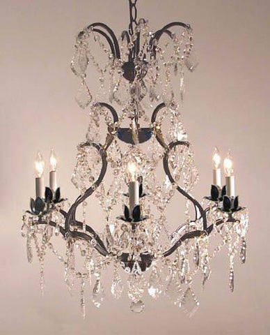 "Wrought Iron Crystal Chandelier Lighting H29"" X W23"" - A83-52/3030/6"