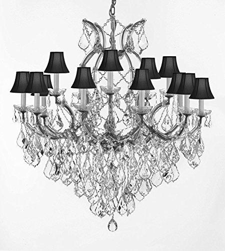 "Swarovski Crystal Trimmed Maria Theresa Chandelier Lights Fixture Pendant Ceiling Lamp For Dining Room Entryway Living Room Dressed With Large Luxe Crystals H38"" X W37"" With Blackshades - A83-B90/Cs/Blackshades/21510/15+1Sw"