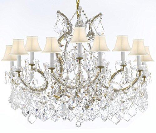 "Swarovski Crystal Trimmed Maria Theresa Chandelier Crystal Lighting Chandeliers Lights Fixture Pendant Ceiling Lamp For Dining Room Entryway Living Room With Large Luxe Crystals H28"" X W37"" - A83-Cg/B89/Whiteshades/21510/15+1Sw"