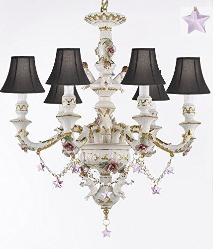 Authentic Capodimonte Porcelain Chandelier Lighting w/ Cherub Angels W/ Pink Stars W/ Black Shades Made in Italy Good for Dining Room, Kids & Girls Bedrooms Trimmed w/ Roses & Flowers - GB102-SC/BLACKSHADES/B38/119/6