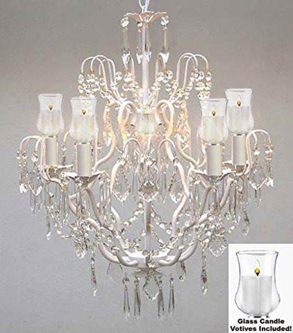 "Crystal Chandelier W/ Candle Votives H27"" X W21""- For Indoor / Outdoor Use Great For Outdoor Events Hang From Trees / Gazebo / Pergola / Porch / Patio / Tent - P7-White/B31/C/3033/5"
