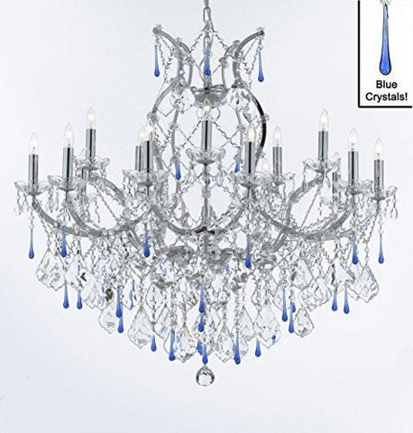 "Maria Theresa Chandelier Lighting Crystal Chandeliers H38 ""X W37"" Chrome Finish Dressed With Blue Crystals Great For The Dining Room Living Room Family Room Entryway / Foyer - A83-Chrome/B54/2527/15+1"