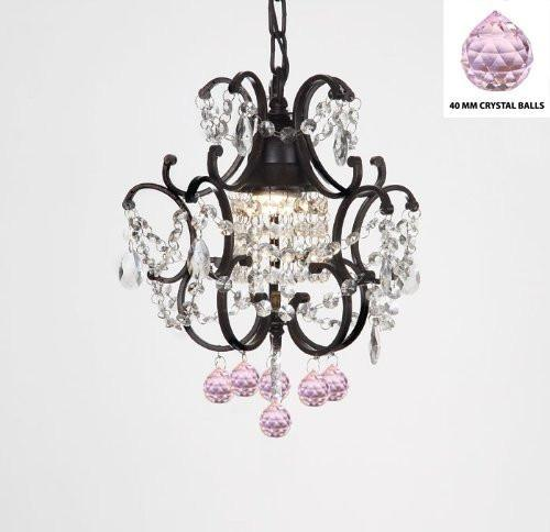 "Wrought Iron Crystal Mini Chandelier W/ Pink Crystal Balls H14"" X W11"" - J10-B76/26030/1"