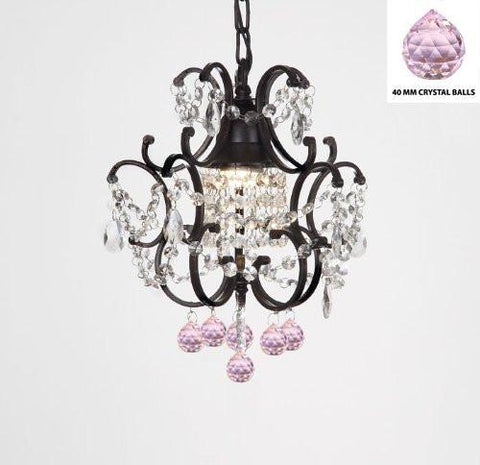 "Wrought Iron Crystal Mini Chandelier W/ Pink Crystal Balls H14"" X W11"" - G7-B76/592/1"