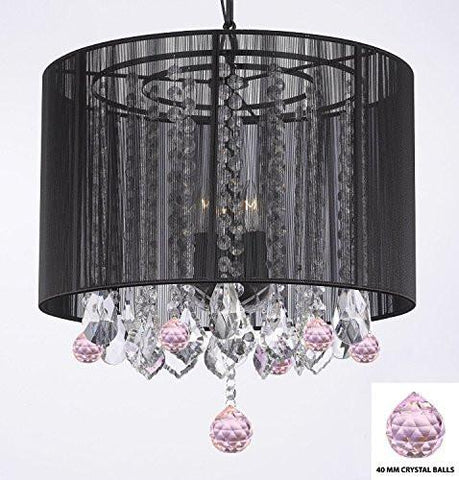 "Crystal Chandelier Chandeliers With Large Black Shade And Pink Crystal Balls H15"" X W15"" - Perfect For Kids' And Girls Bedrooms - G7-B76/Black/Sm/604/3"