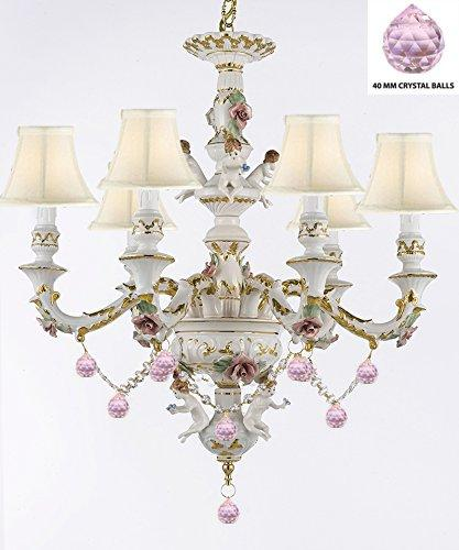 Authentic Capodimonte Porcelain Chandelier Lighting Chandeliers w/ Cherub Angels W/ Pink Balls w/ white Shades Made in Italy Trimmed w/ Roses & Flowers-Limited Stock Available - GB102-SC/WHITESHADES/B76/119/6