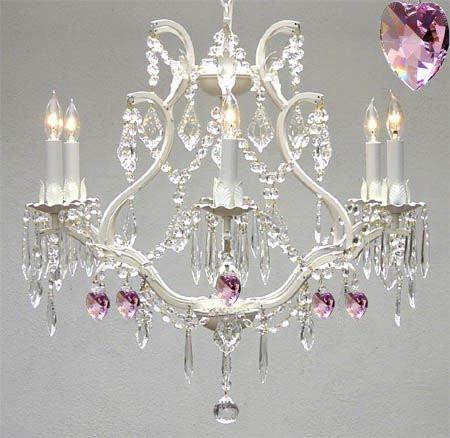 Wrought Iron & Crystal Chandelier Authentic Empress Crystal(Tm) Chandelier With Pink Hearts Nursery Kids Girls Bedrooms Kitchen Etc. - A83-White/B21/3530/6