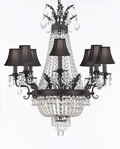 Swarovski Crystal Trimmed Chandelier Empire Crystal Chandelier Lighting With Shades And Dark Antique Finish - F93-Sc/Blackshade/B88/1280/8+4 Sw