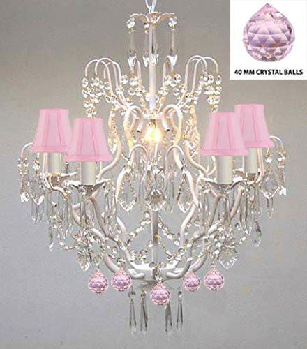 Wrought Iron & Crystal Chandelier Authentic Empress Crystal(Tm) Chandelier Lighting Chandeliers With Pink Balls Nursery Kids Girls Bedrooms Kitchen Etc. With Pink Shades - J10-Pinkshades/White/B76/C/26025/5