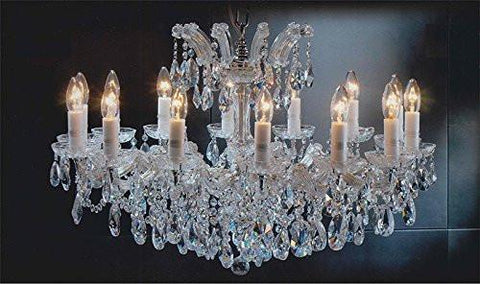 "Maria Theresa Chandelier Crystal Lighting Chandeliers Lights Fixture Pendant Ceiling Lamp For Dining Room Entryway Living Room H 21"" X W 31"" - Antique French Gold Color - A83-Cg/2489/14"