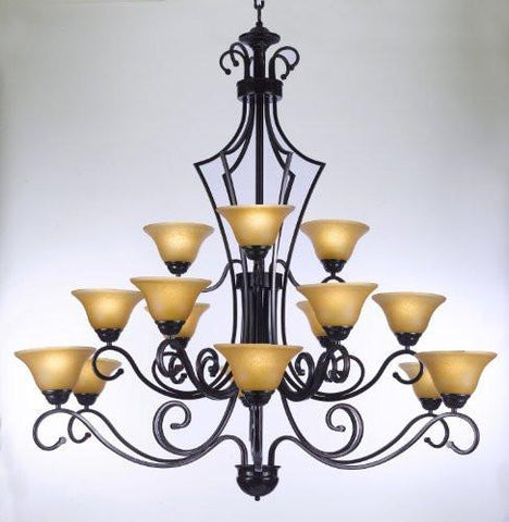 "Large Foyer / Entryway Wrought Iron Chandelier Lighting H51"" X W49"" - Go-J10-26057/15"