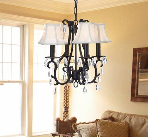 "New WROUGHT IRON CRYSTAL CHANDELIER W/ SHADES H15"" X W18"" - GO-A7-CLEAR/406/4"