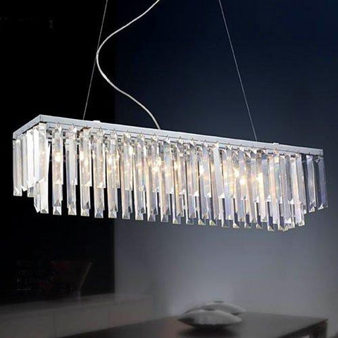 "Modern Contemporary Linear Chandelier Lighting W/ Crystal W47.24"" X H9"" - G902-6938-8"