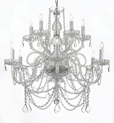 Swarovski Crystal Trimmed Chandelier Murano Venetian Style All-Crystal Chandelier - A46-Silver/4/385/6+6 Sw