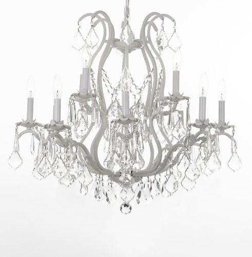 "White Wrought Iron Crystal Chandelier H30"" X W28"" - J10-26014/12White SW"