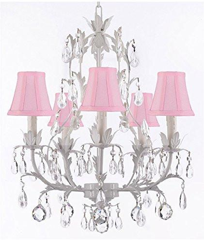 White Wrought Iron Floral Chandelier Lighting W/ Crystal Balls And Shades - J10-Sc/Pinkshade/B6/White/26016/5