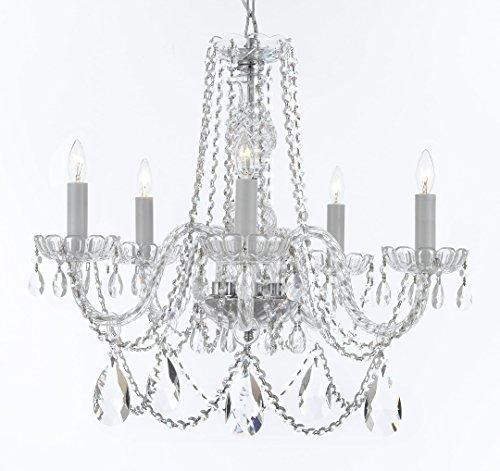 "Swarovski Crystal Trimmed Murano Venetian Style Chandelier Crystal Lights Fixture Pendant Ceiling Lamp for Dining Room, Bedroom, Entryway , Living Room - With Large, Luxe Crystals! H25"" X W24"" - A46-B93/B89/384/5SW"
