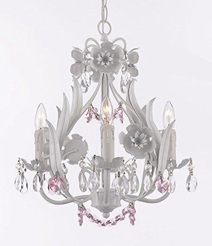 White Iron Floral Crystal Flower Chandelier Lighting W/ Pink Crystal Hearts And Strands - Perfect For Kid'S And Girls Bedroom - G7-B41/White/326/4