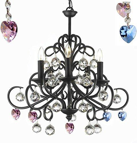 "Bellora Crystal Wrought Iron Chandelier Chandeliers Lighting Empress Crystal (Tm) With Faceted Crystal Balls Blue And Pink Hearts H22"" W20"" - A7-B85/B21/586/5"