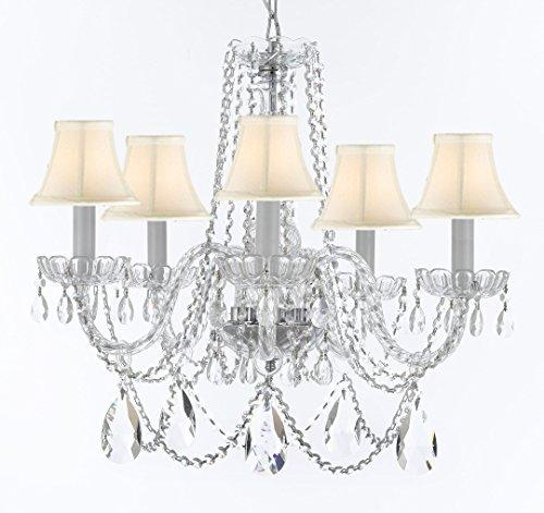 "Swarovski Crystal Trimmed Murano Venetian Style Chandelier Crystal Lights Fixture Pendant Ceiling Lamp for Dining Room, Entryway , Living Room w/Large, Luxe Crystals! H25"" X W24"" w/ White Shades - A46-WHITESHADES/B93/B89/384/5SW"