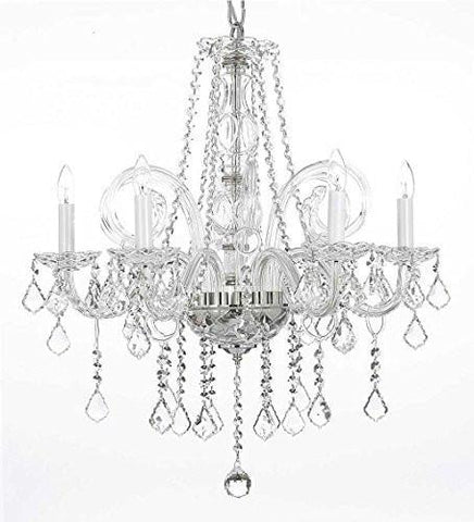 "Swarovski Crystal Trimmed Chandelier Crystal Chandelier Lighting H25"" X W24"" - G46-B26/385/5 Sw"