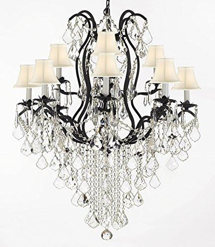 "Wrought Iron Empress Crystal (Tm) Chandelier Lighting H40"" X W28"" With White Shades - F83-Sc/Whiteshades/B12/3034/8+4"