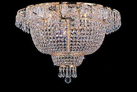 "Swarovski Crystal Trimmed Chandelier Flush French Empire Crystal Chandelier Lighting 19.5"" X 24"" - A93-Flush/Cg/928/9Sw"