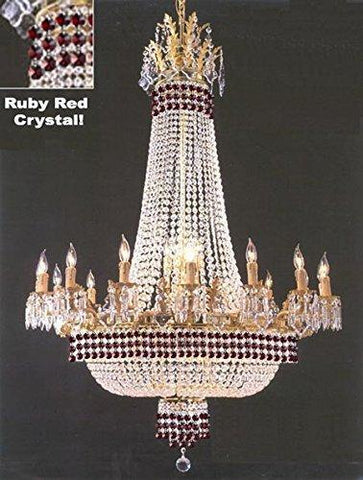 "Empire Crystal Chandelier Chandeliers Lighting Dressed With Ruby Red Crystals! Great for the Dining Room Foyer Living Room! H50"" X W40"" - G81-B74/1280/14+7"