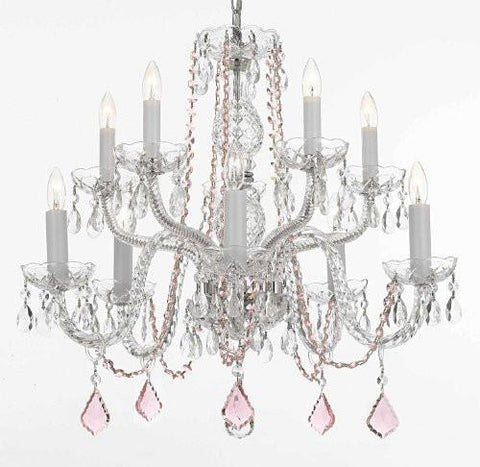Crystal Chandelier Lighting With Pink Color Crystal - A46-B2/Cs/1122/5+5