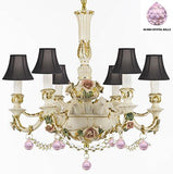 Authentic Capodimonte Porcelain Chandelier Lighting Chandeliers Made in Italy, Trimmed w/ Roses & Flowers Dressed w/ Crystals and Balls With Black Shades - GB102-SC/BLACKSHADE/B52/B76/435/6