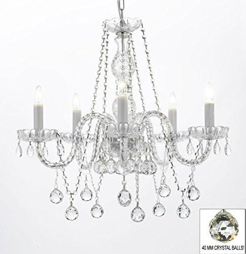 "Authentic All Crystal Chandeliers Lighting Chandeliers With Crystal Balls H27"" X W24"" - G46-B37/384/5"