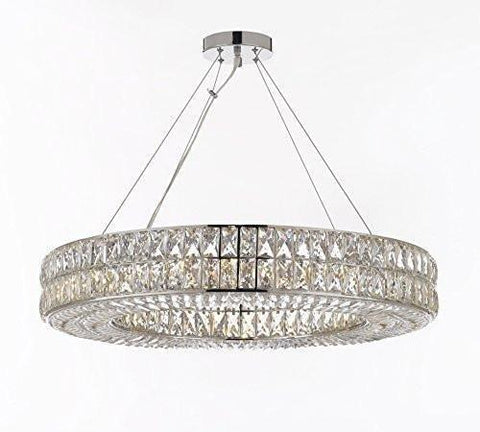 "Crystal Nimbus Ring Chandelier Modern/Contemporary Lighting Pendant 40"" Wide - For Dining Room, Foyer, Entryway, Family Room - GB104-3063/14"