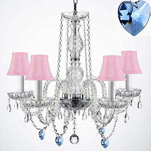 "Authentic Empress Crystal(Tm) Chandelier Lighting Chandeliers With Blue Crystal Hearts And Pink Shades H25"" X W24"" - G46-Pinkshades/B85/384/5"