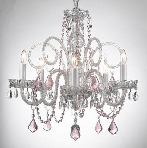 Crystal Chandelier Lighting With Pink Color Crystal - A46-Pinkb2/385/5