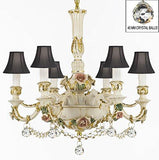 Authentic Capodimonte Porcelain Chandelier Lighting Chandeliers Cottage Chic Made in Italy Dressed w/ Crystals and Crystal Balls With Black Shades - GB102-SC/BLACKSHADE/B52/B6/435/6