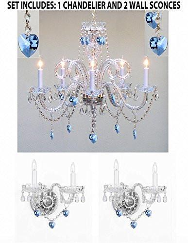 Three Piece Lighting Set - Crystal Chandelier And 2 Wall Sconces W/ Blue Crystal Hearts - 1Ea-B85/387/5 + 2Ea-B85/2/386