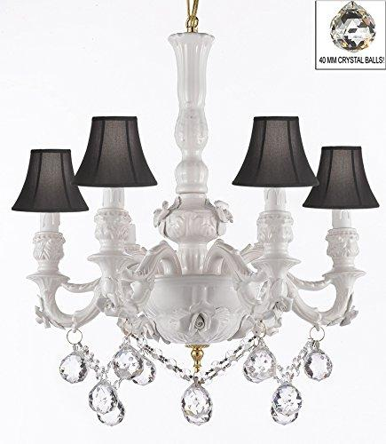 Authentic Capodimonte White Porcelain Chandelier Lighting Chandeliers Cottage Chic Made in Italy, Good for Dining Room, Kids & Girls Bedrooms w/ Roses & Flowers Speciality item, W/ Crystal Balls With Black Shades - GB102-SC/BLACKSHADE/B52/B6/WHITE/435/6