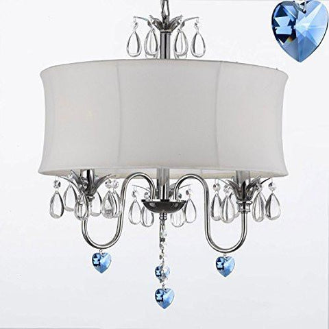 "Crystal Chandelier Chandeliers With Large White Shade And Blue Crystal Hearts W18"" H 22"" - Perfect For Kids' And Girls Bedrooms - J10-B85/White/26033/3"