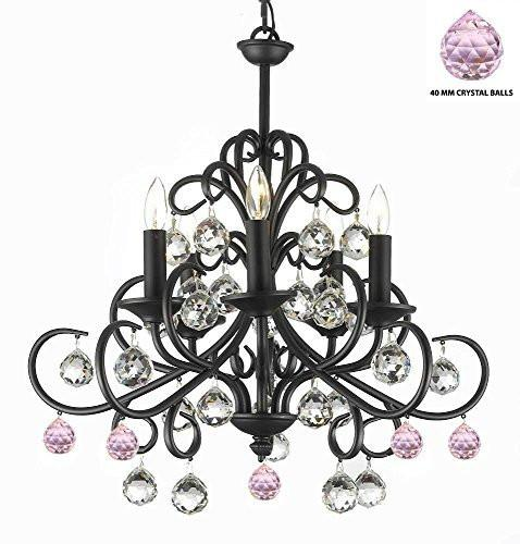 "Bellora Crystal Wrought Iron Chandelier Lighting Empress Crystal (Tm) With Faceted Crystal Balls And Pink Balls H 22"" W 20"" - A7-B76/586/5"