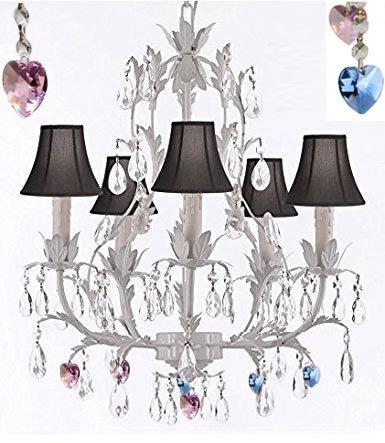 White Wrought Iron Floral Chandelier Lighting W/ Blue And Pink Hearts And Shades - J10-Sc/Blackshade/B85/B21/White/26016/5