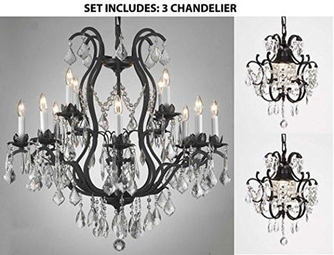 "Set Of 3 - 1 Wrought Iron Crystal Lighting Chandelier H30"" X W28"" And 2 Wrought Iron Crystal Chandelier H14"" W11"" - 1Ea-3034/8+4 + 2Ea-26030/1"