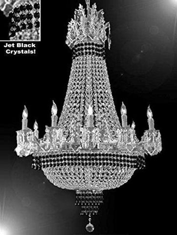 "Empire Crystal Chandelier Chandeliers Lighting Dressed With Jet Black Crystals Great For The Dining Room Foyer Living Room H32"" X W25"" - B79-Cs/1284/8+4"