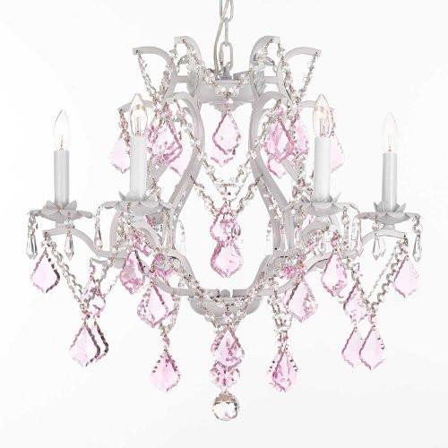 "White Wrought Iron Crystal Chandelier Lighting With Pink Crystals H 19"" W 20"" - A83-Pinkb20/White/3530/6"