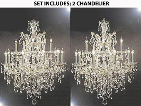 "Set Of 2 - Maria Theresa Swarovski Crystal Trimmed Chandelier Lighting Chandeliers H30"" X W28"" - 2Ea-Silver/21532/12+1Sw"