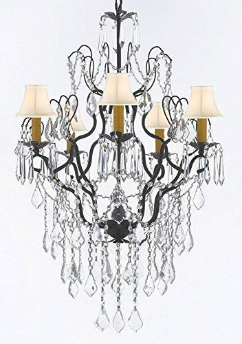 "Wrought Iron Empress Crystal (Tm) Chandelier Lighting H32"" X W21"" With White Shades - J10-B12/Sc/Whiteshades/26034/5"