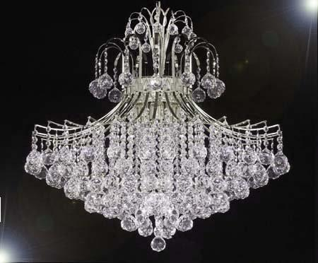 "Swarovski Crystal Trimmed Chandelier Chandelier Lighting Dressed W/ Swarovski Crystal H30"" X W24"" - J10-CS/26054/9Sw"