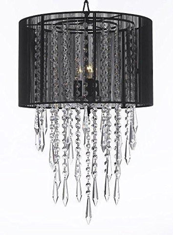 "Crystal Chandelier Empress Crytal (Tm) Chandeliers With Large Black Shades H24"" X W15"" - G7-B27/Black/3/604/3"