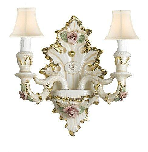 Authentic Capodimonte Porcelain Wall Sconce Lighting Cottage Chic Made in Italy With Shades, 24K Gold Trimmed w/ Roses & Flowers - GB102-WALLSCONCE/2/435/WHITESHADES