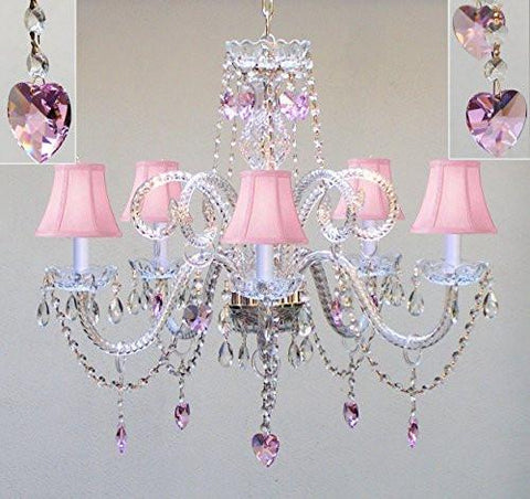 "Swarovski Crystal Trimmed Chandelier Chandelier Lighting W/ Crystal Pink Shades & Hearts H25"" X W24"" - Perfect For Kid'S And Girls Bedroom - Go-A46-Pinkshades/387/5/Pinkhearts Sw"